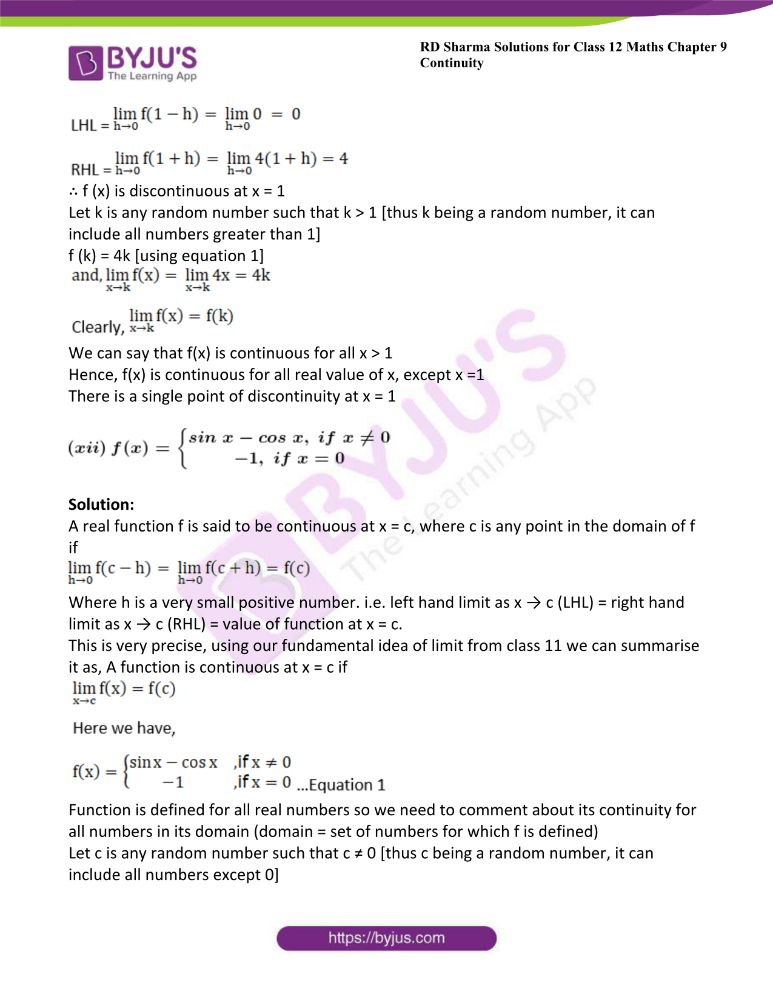 RD Sharma Class 12 Maths Solutions Chapter 9 Continuity 45