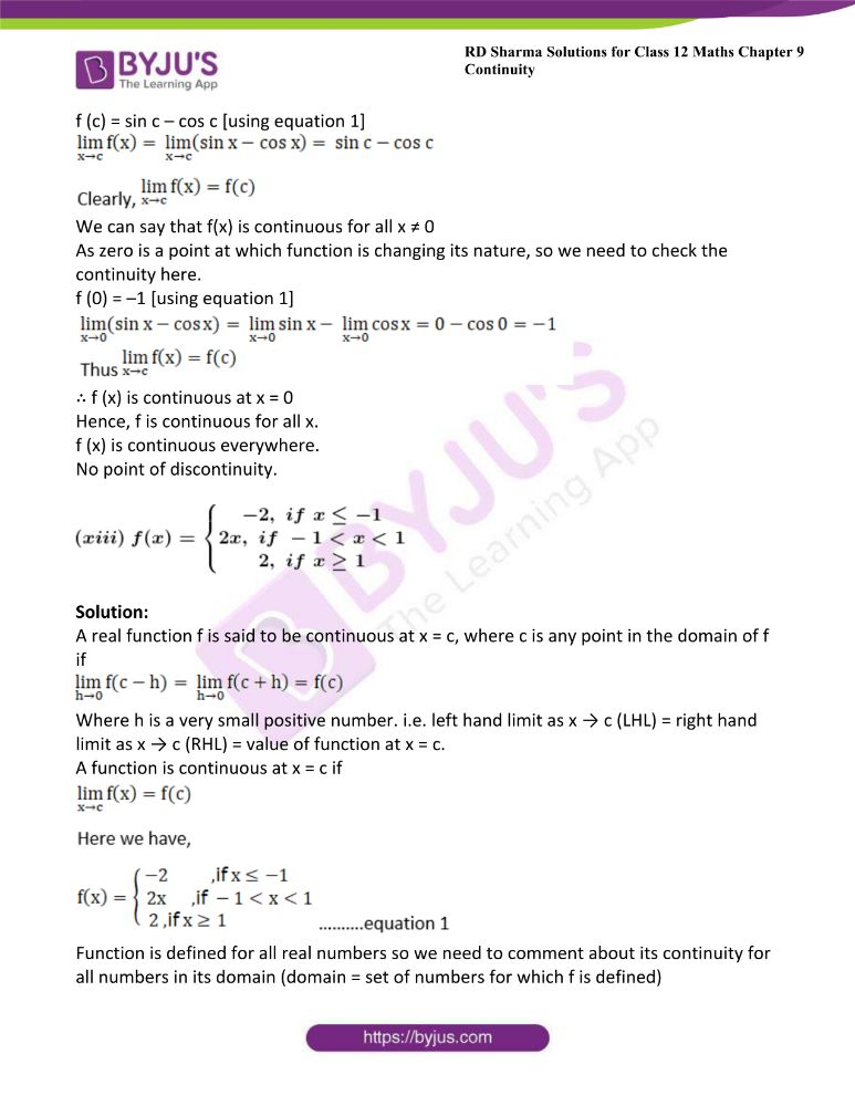 RD Sharma Class 12 Maths Solutions Chapter 9 Continuity 46