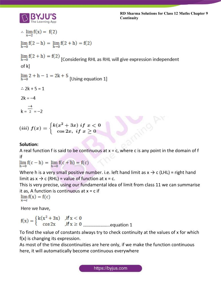 RD Sharma Class 12 Maths Solutions Chapter 9 Continuity 50