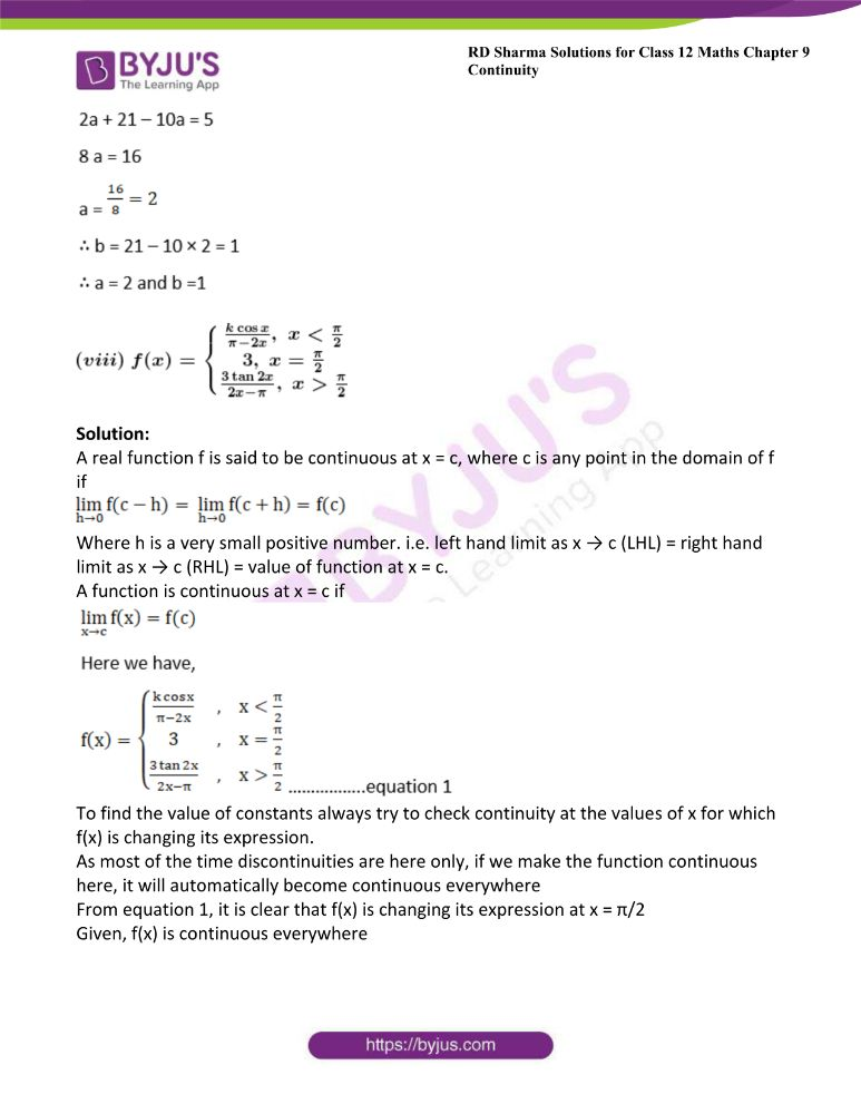 RD Sharma Class 12 Maths Solutions Chapter 9 Continuity 57