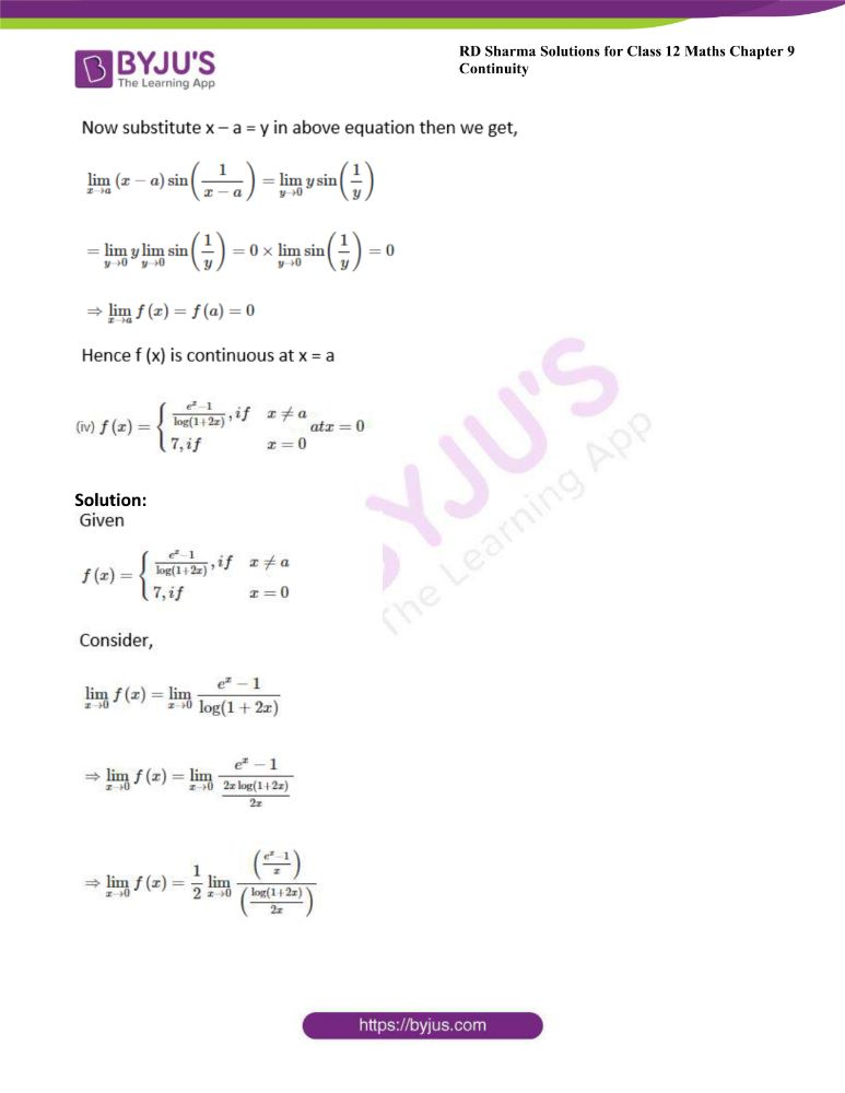 RD Sharma Class 12 Maths Solutions Chapter 9 Continuity Exercise 9.1 10