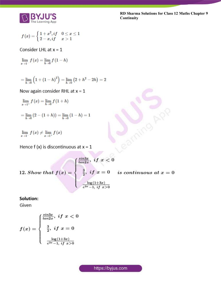 RD Sharma Class 12 Maths Solutions Chapter 9 Continuity Exercise 9.1 15