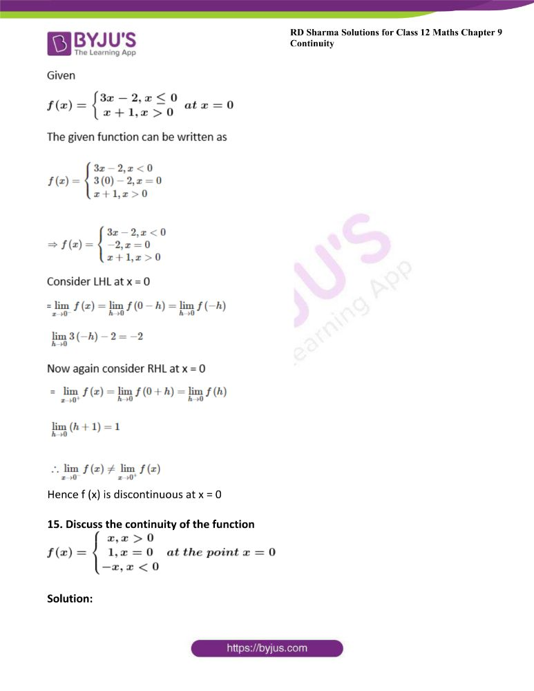 RD Sharma Class 12 Maths Solutions Chapter 9 Continuity Exercise 9.1 19