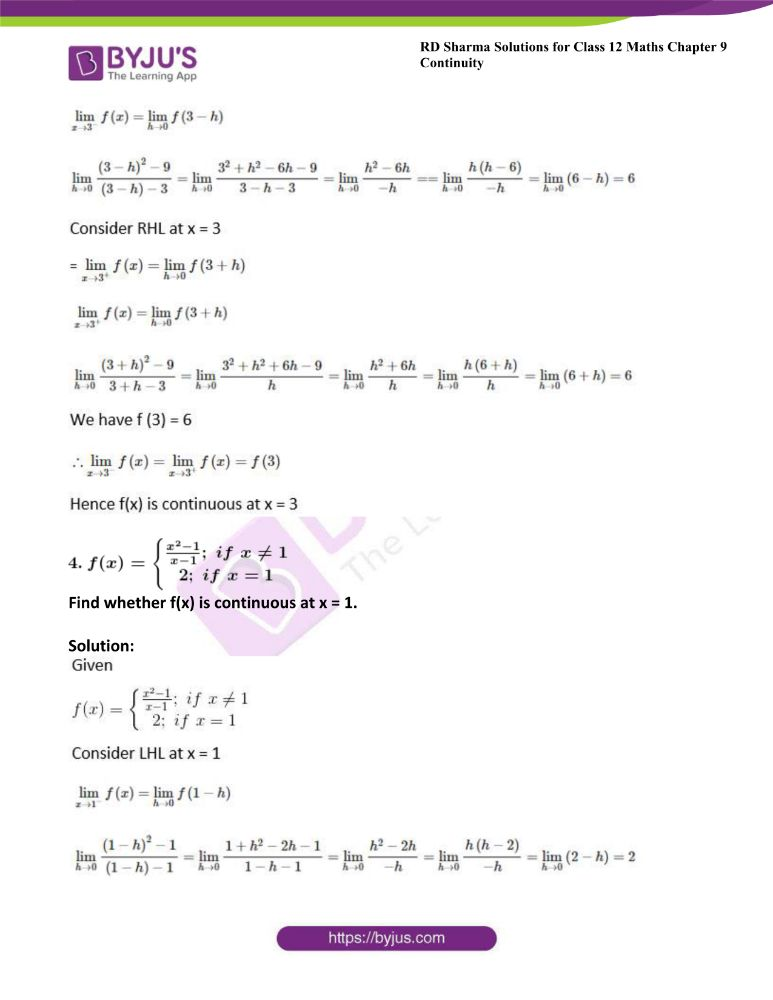 RD Sharma Class 12 Maths Solutions Chapter 9 Continuity Exercise 9.1 2