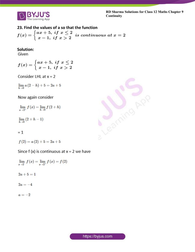 RD Sharma Class 12 Maths Solutions Chapter 9 Continuity Exercise 9.1 26