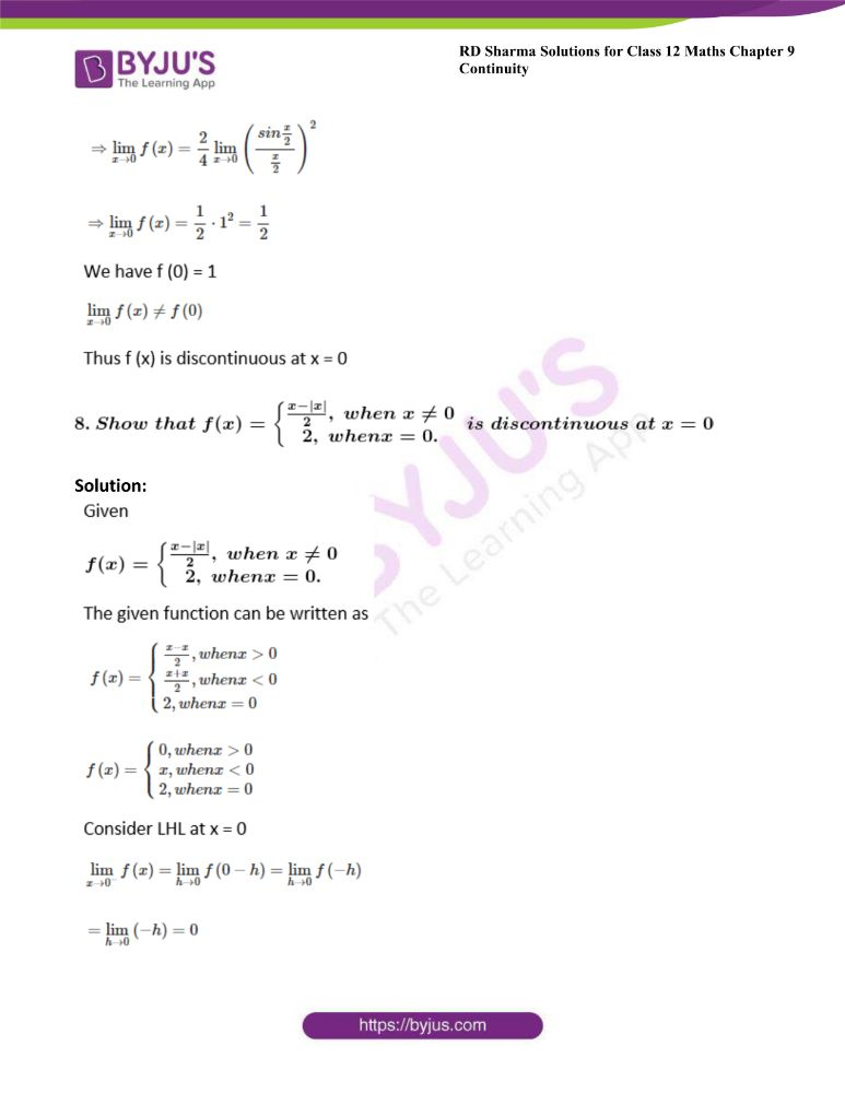 RD Sharma Class 12 Maths Solutions Chapter 9 Continuity Exercise 9.1 6