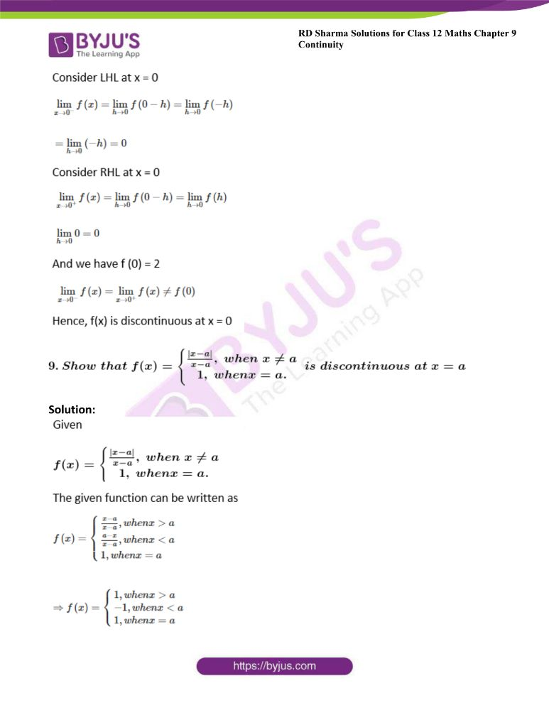 RD Sharma Class 12 Maths Solutions Chapter 9 Continuity Exercise 9.1 7