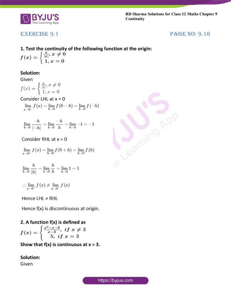 RD Sharma Class 12 Maths Solutions Chapter 9 Continuity Exercise 9.1