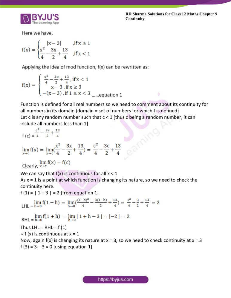 RD Sharma Class 12 Maths Solutions Chapter 9 Continuity Exercise 9.2 12