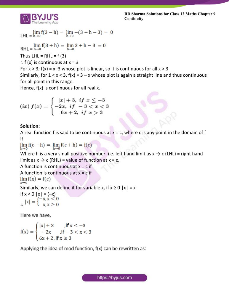 RD Sharma Class 12 Maths Solutions Chapter 9 Continuity Exercise 9.2 13