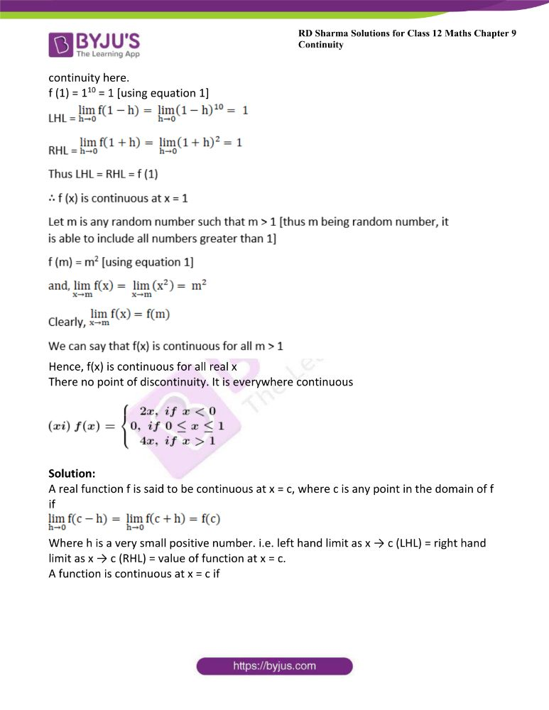RD Sharma Class 12 Maths Solutions Chapter 9 Continuity Exercise 9.2 16