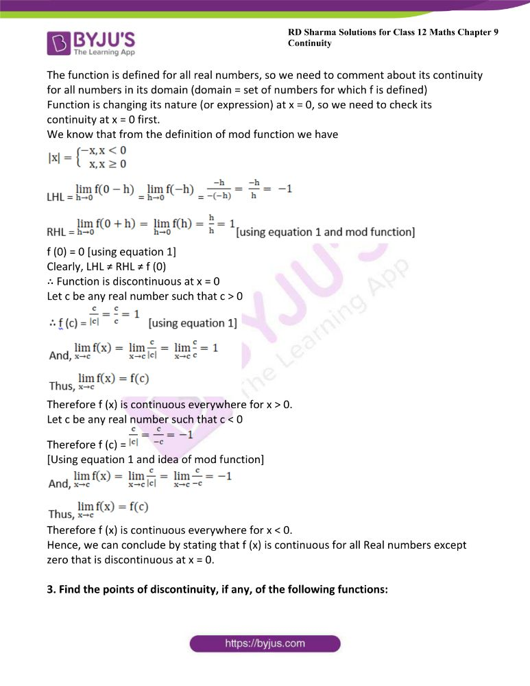 RD Sharma Class 12 Maths Solutions Chapter 9 Continuity Exercise 9.2 2