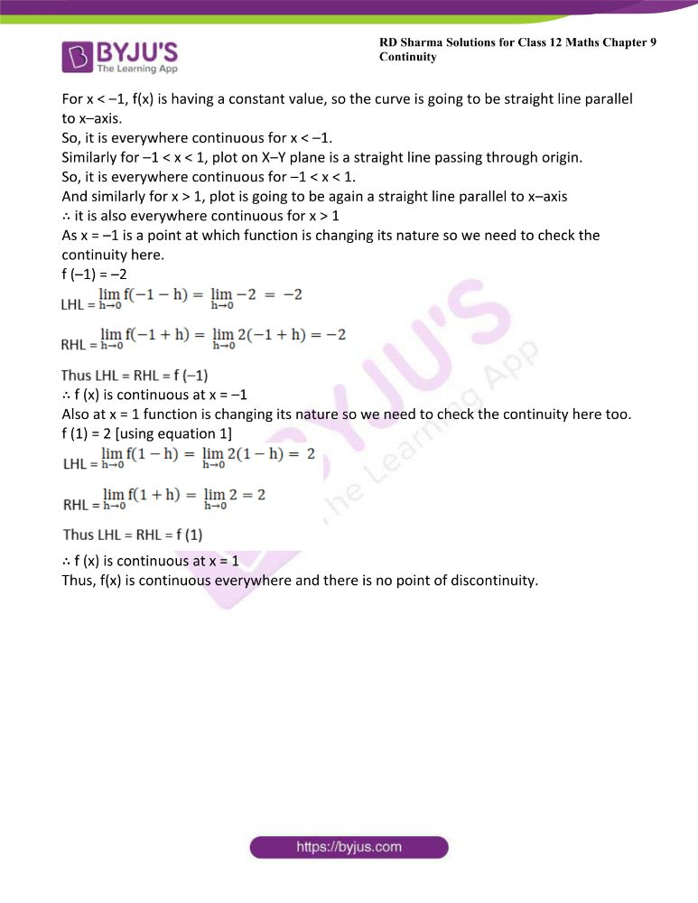 RD Sharma Class 12 Maths Solutions Chapter 9 Continuity Exercise 9.2 20
