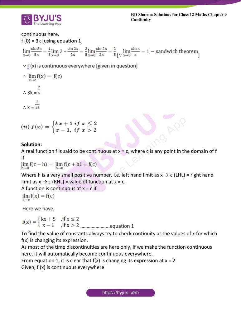 RD Sharma Class 12 Maths Solutions Chapter 9 Continuity Exercise 9.2 22