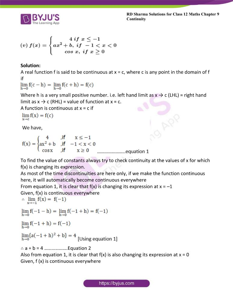 RD Sharma Class 12 Maths Solutions Chapter 9 Continuity Exercise 9.2 26