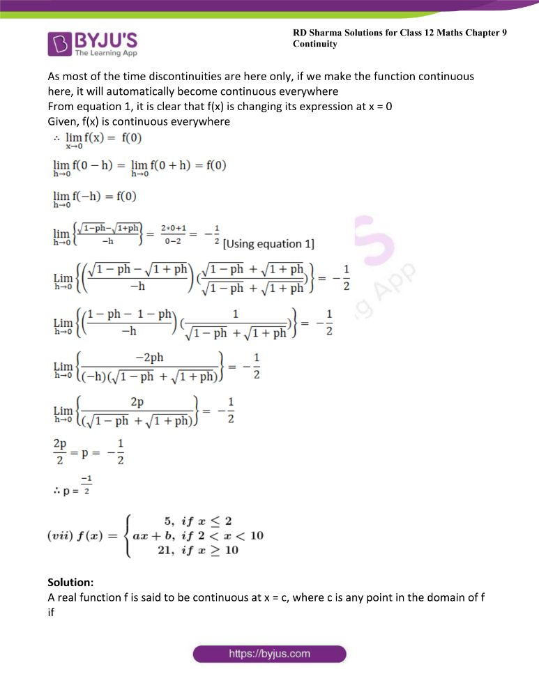 RD Sharma Class 12 Maths Solutions Chapter 9 Continuity Exercise 9.2 28