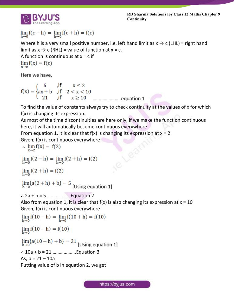 RD Sharma Class 12 Maths Solutions Chapter 9 Continuity Exercise 9.2 29