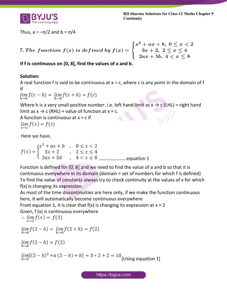 RD Sharma Class 12 Maths Solutions Chapter 9 Continuity Exercise 9.2 35