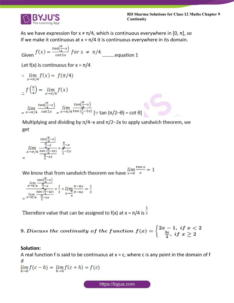 RD Sharma Class 12 Maths Solutions Chapter 9 Continuity Exercise 9.2 37