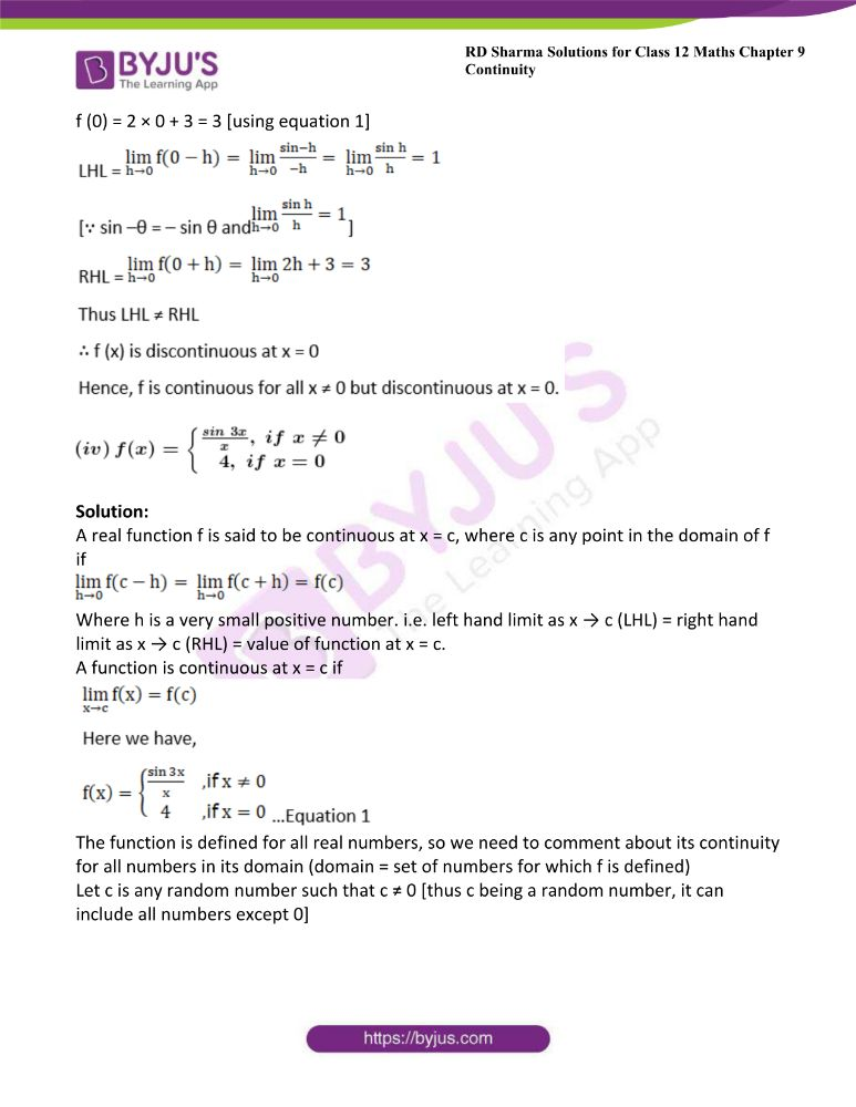 RD Sharma Class 12 Maths Solutions Chapter 9 Continuity Exercise 9.2 6