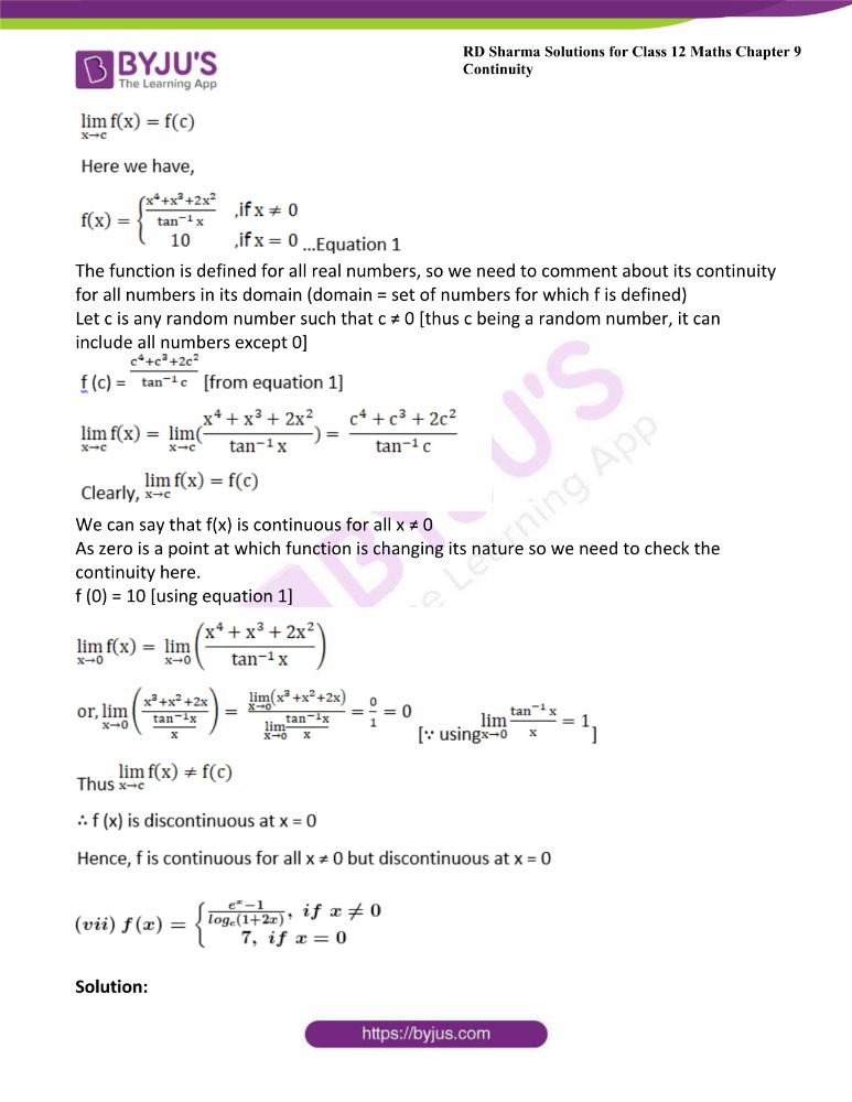 RD Sharma Class 12 Maths Solutions Chapter 9 Continuity Exercise 9.2 9