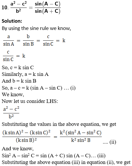 RD Sharma Solutions for Class 11 Maths Chapter 10 – Sine and Cosine Formulae and their Applications image - 30