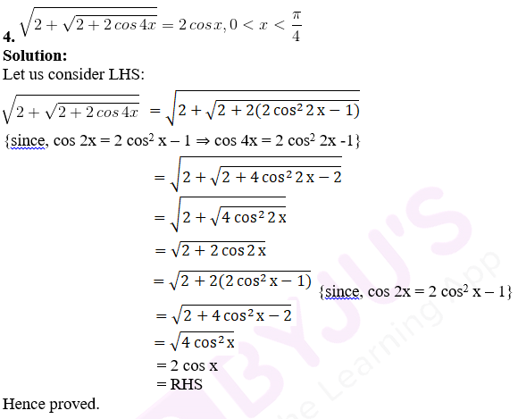 RD Sharma Solutions for Class 11 Maths Chapter 9 – Values of Trigonometric Functions at Multiples and Submultiples of an Angle image - 1