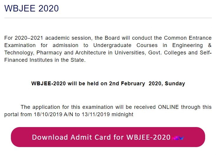 West Bengal Joint Entrance Exam Admit Card Release