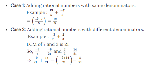 Addition of Rational Numbers