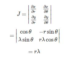 Find the area element using the Jacobian