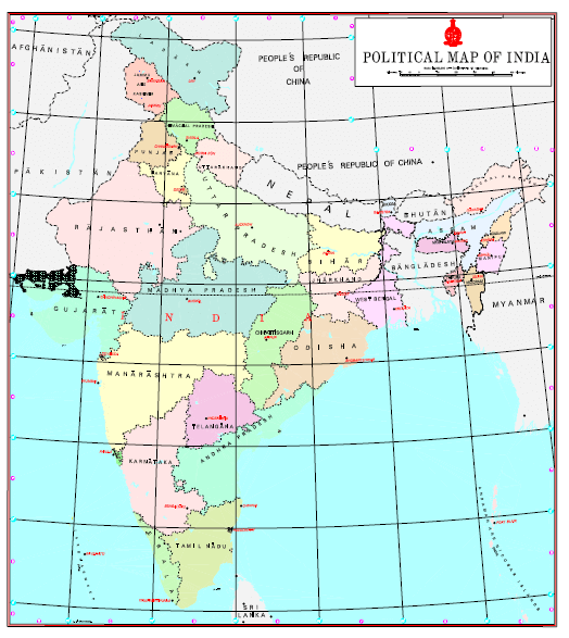 Political Map of India with UT of Jammu and Kashmir and UT of Ladakh