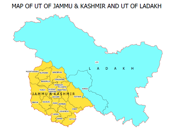 Map of UT of Jammu and Kashmir and UT of Ladakh