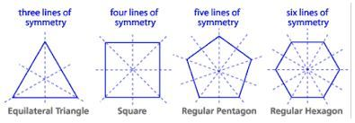 Lines of symmetry for regular polygons