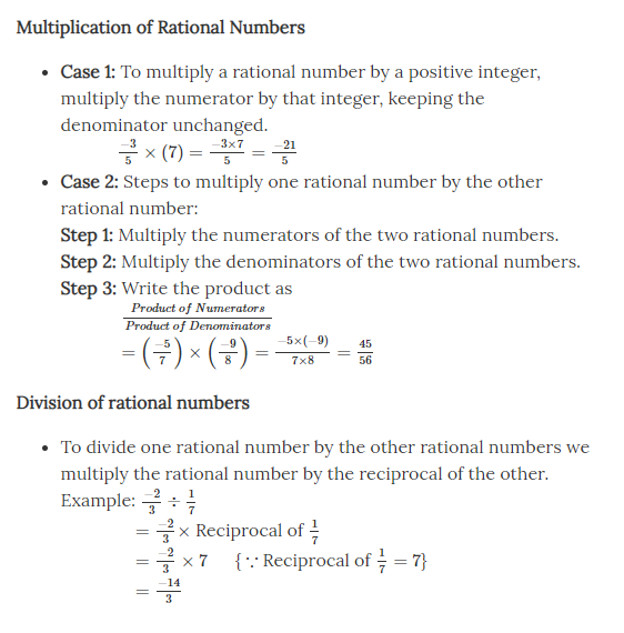 Multiplication and Divison of Rational Numbers