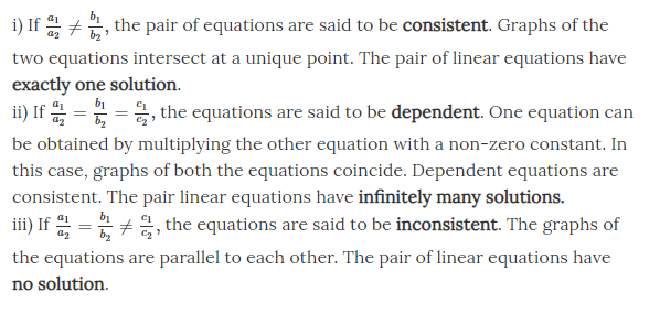 Pair of Linear Equations in Two Variables Class 10 Notes Chapter 3-3