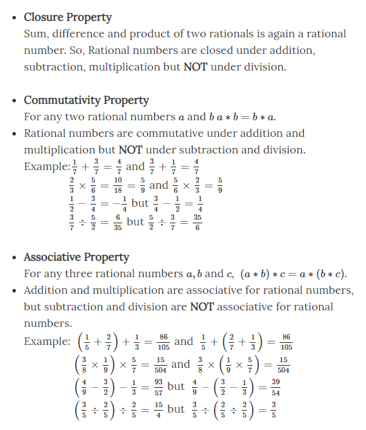 Properties of Rational Number