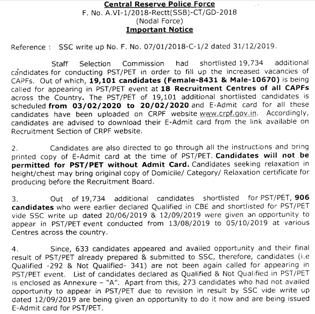 SSC GD PET/PST Admit Card 2019 - Additional Candidates