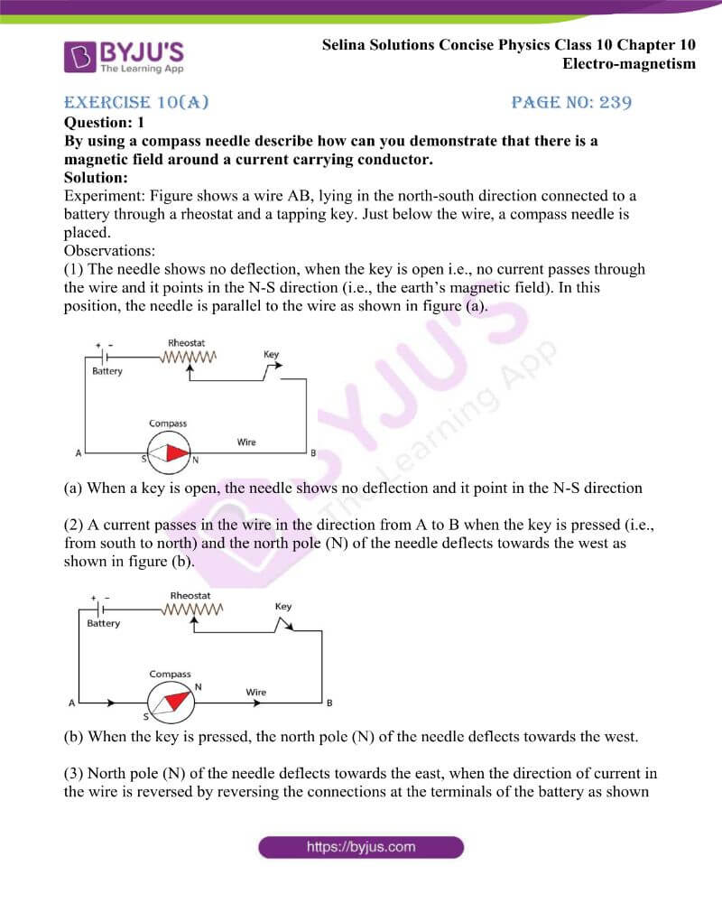 Selina Solutions Concise Physics Class 10 Chapter 10 Electro magnetism