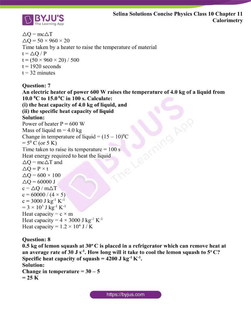 Selina Solutions Concise Physics Class 10 Chapter 11 Calorimetry 10