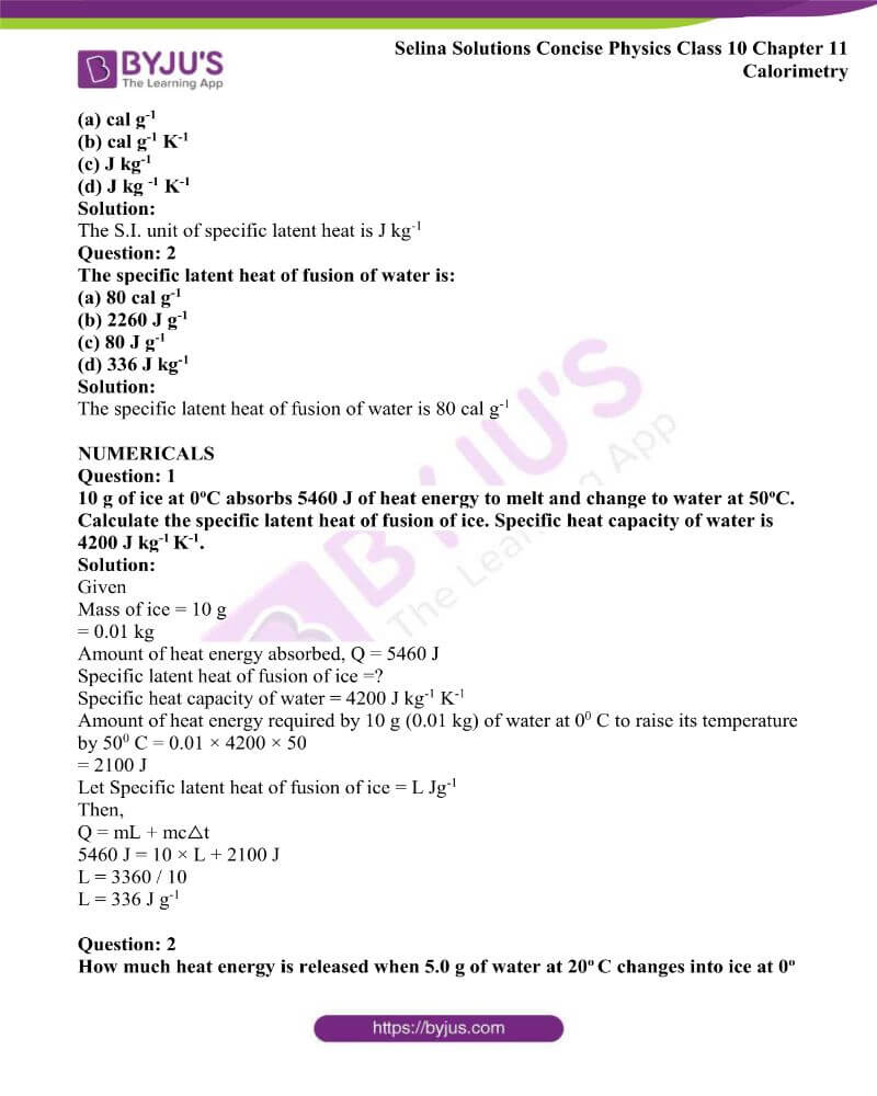Selina Solutions Concise Physics Class 10 Chapter 11 Calorimetry 21