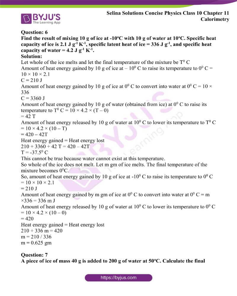Selina Solutions Concise Physics Class 10 Chapter 11 Calorimetry 24