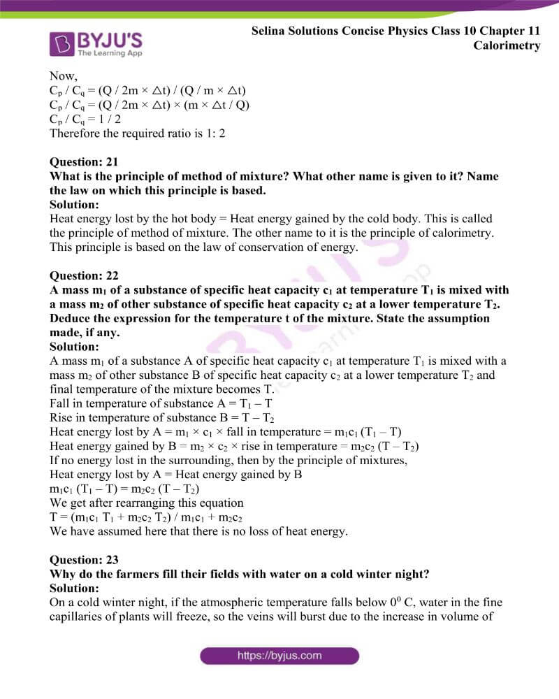 Selina Solutions Concise Physics Class 10 Chapter 11 Calorimetry 4