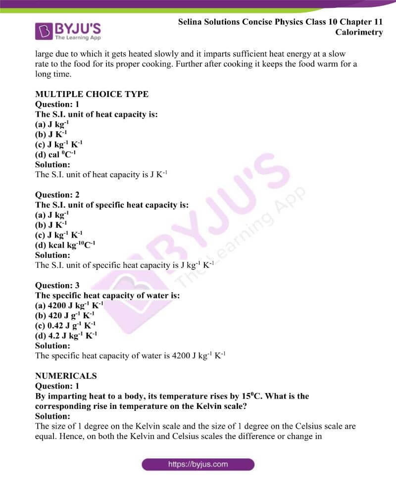 Selina Solutions Concise Physics Class 10 Chapter 11 Calorimetry 7