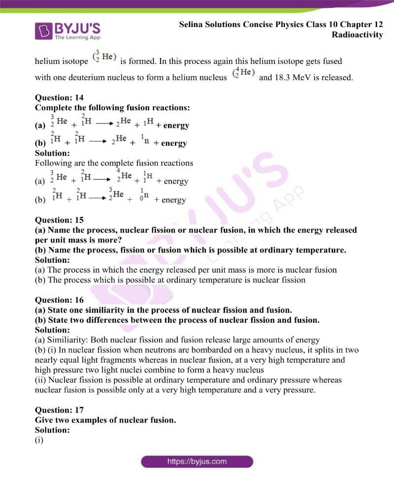 Selina Solutions Concise Physics Class 10 Chapter 12 Radioactivity 17