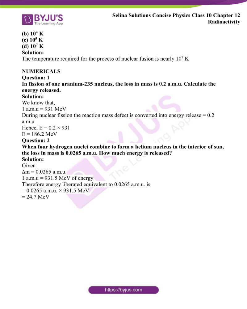 Selina Solutions Concise Physics Class 10 Chapter 12 Radioactivity 19