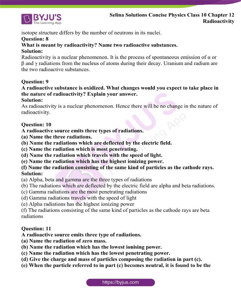 Selina Solutions Concise Physics Class 10 Chapter 12 Radioactivity 2