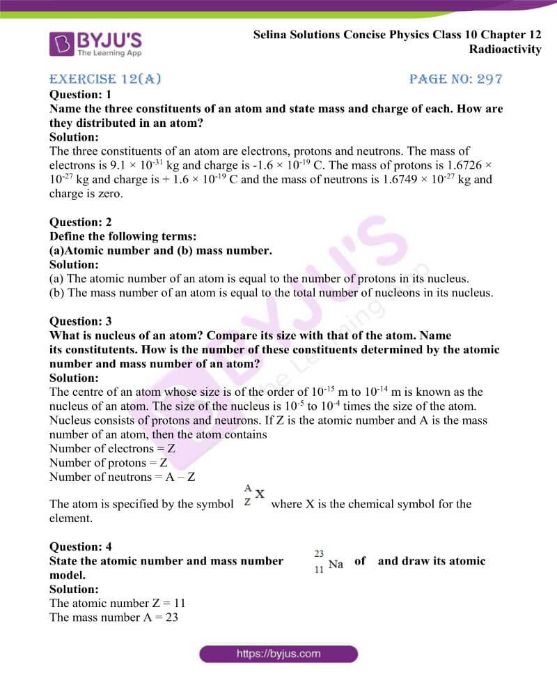 Selina Solutions Concise Physics Class 10 Chapter 12 Radioactivity