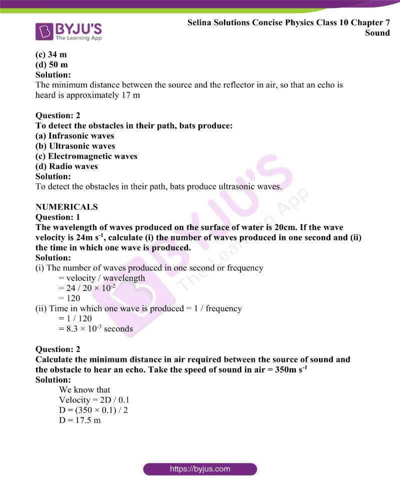 Selina Solutions Concise Physics Class 10 Chapter 7 Sound 4