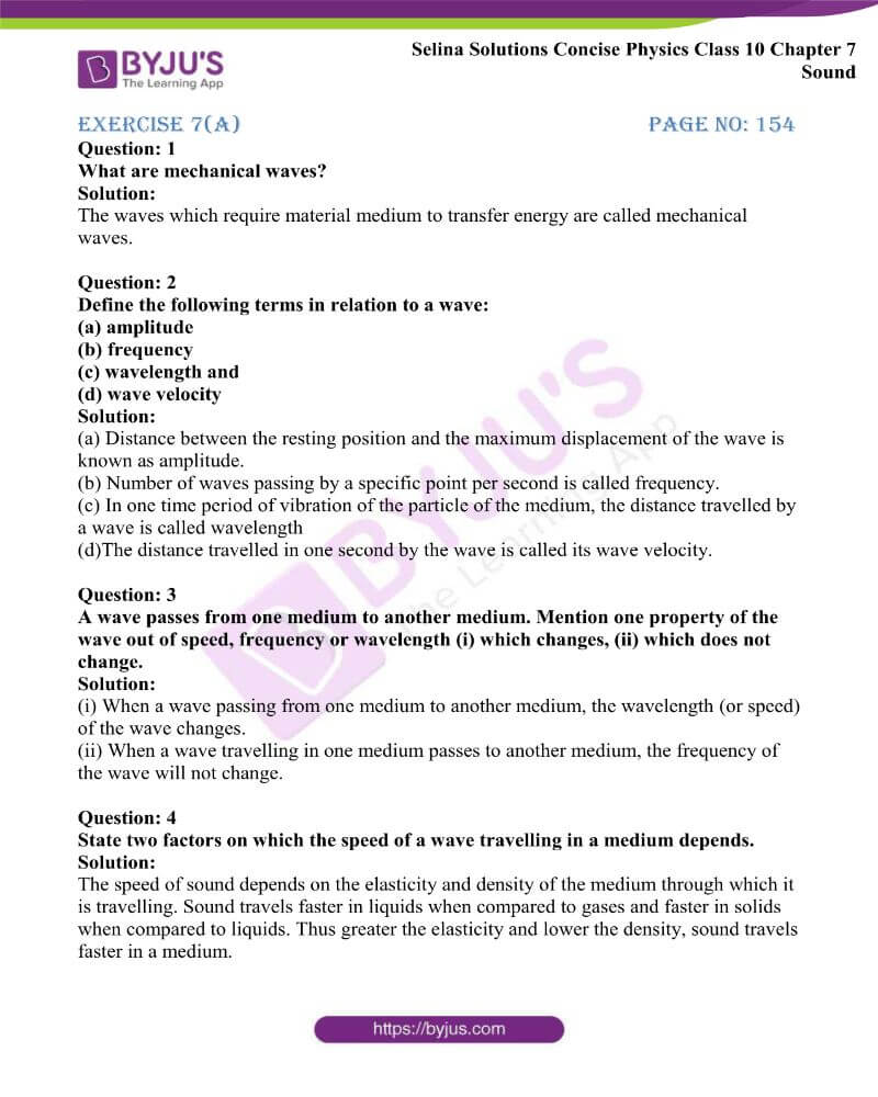 Selina Solutions Concise Physics Class 10 Chapter 7 Sound
