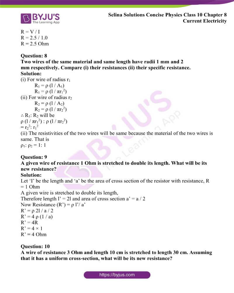 Selina Solutions Concise Physics Class 10 Chapter 8 Current Electricity 13